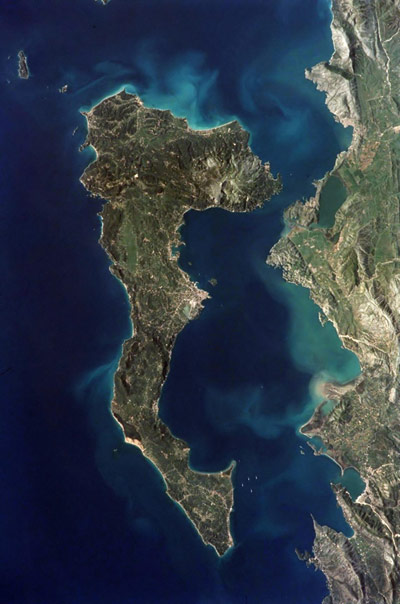 corfu from space